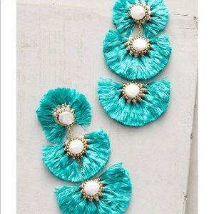 Anthropologie Blue Tassel Earrings
